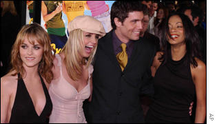 Britney Spears and the cast of Crossroads