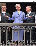 Queen Margrethe with Prince Henrik and Prince Joachim