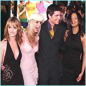 The cast of the film Crossroads from the left, are Taryn Manning, Britney Spears, Anson Mount and Zoe Saldana