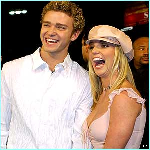 Britney and Justin from N'Sync pose for the press
