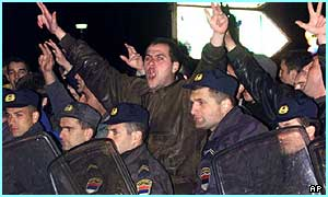 Milosevic supporters protest in Belgrade, Yugoslavia