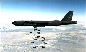 A B-52 bomber carrying out carpet bombing