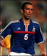 Youri Djorkaeff in action for France against Brazil in last summer's Confederations Cup