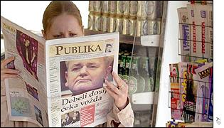 A frontpage of Publika (Public) newspaper in Montenegro showing Milosevic and reading Fat files await for duke