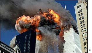 World Trade Center towers on fire