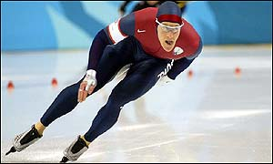 US speedskater Casey FitzRandolph claims gold in the 500m