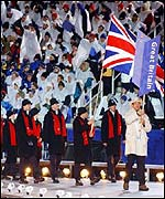 The British team walk into the Rice-Eccles Olympic Stadium at the opening ceremony