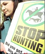 Anti-hunt protestors