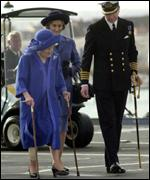 Queen Mother in Portsmouth, walking with sticks