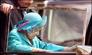 The Queen Mother getting into a car on 9 September 2001
