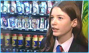 A pupil at the school chats about the new vending machine