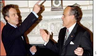 Tony Blair and Rudolph Giuliani inside Downing Street