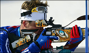 Ole Einar Bjoerndalen of Norway competing in the men's 10km biathlon sprint