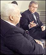 Ariel Sharon (left) and George W Bush