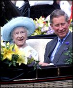 Queen Mother and Prince Charles at her 100th Birthday celebrations