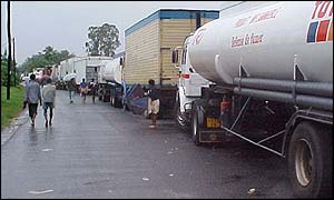 Queue of lorries