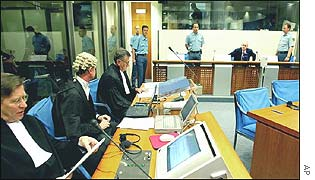 Day three at the International Criminal Tribunal for the former Yugoslavia - Milosevic is second from right
