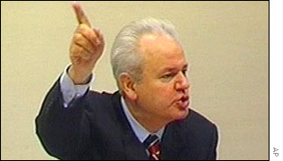 Slobodan Milosevic as he defends himself at the war crimes tribunal