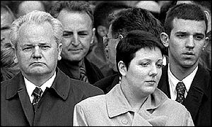 Slobodan Milosevic with daughter Marija and son Marko