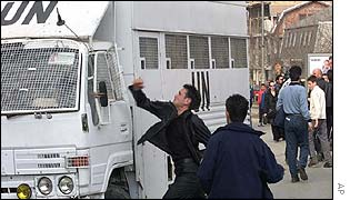 Kosovo Albanians attack a UN vehicle