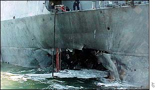 The damaged USS Cole in Aden harbour
