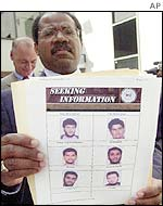 FBI agent holds up the list of wanted men