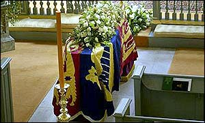 Princess Margaret's coffin in the Queen's Chapel at St James's Palace