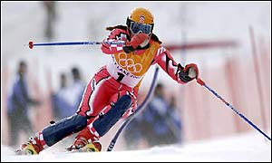 Janica Kostelic in action in the downhill
