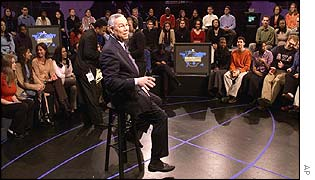 Colin Powell takes part in the MTV forum