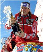 Janica Kostelic celebrates her World Cup win in 2001