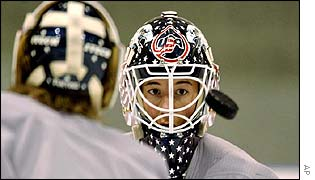 United States womens Olympic hockey team goalies Sara De-Costa