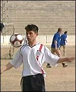 An Afghan player practicing