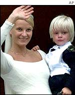 Norway's Princess Mette-Marit with her son