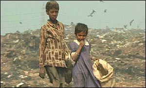 Children at Dhaka rubbish dump