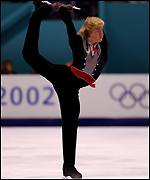 Russia's Evgeni Plushenko on his way to winning the silver medal