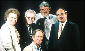 Moral Maze presenter Michael Buerk with Janet Daley, David Starkey, Edward Pearce and David Cook