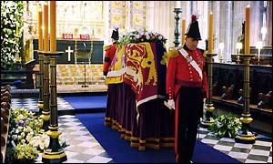 military knights guard the coffin of Princess Margaret before her funeral in St Georges Chapel