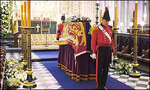 The coffin in St George's Chapel before the service