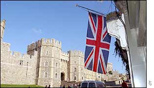 Union Jack at half mast outside Windsor Castle