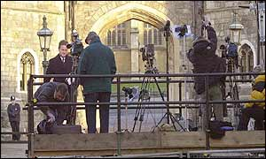 Broadcast media set up outside Windsor Castle