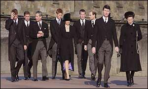 From left: Prince William, the Duke of York, Prince Charles, Prince Harry, Sophie, Countess of Wessex, Peter Phillips, the Earl of Wessex, Commodore Tim Laurence and the Princess Royal