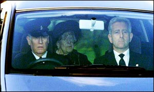 A glimpse of the Queen Mother as she left her daughter's funeral