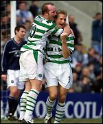 Hartson and Mjallby celebrate the second goal