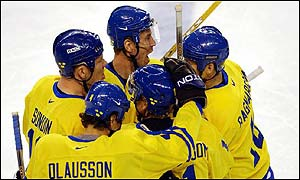 Sweden celebrate another goal in their shock win over Canada