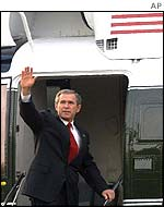 George W Bush leaves on his tour