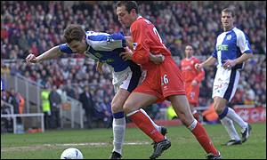 Blackburn's Nils Eric Johansson holds off MIddlesbrough's Noel Whelan