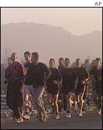 British troops jogging near their Kabul barracks