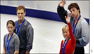 Canadian pair Jamie Sale and David Pelletier and Russian duo Yelena Berezhnaya and Anton Sikharulidze