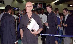 Pierre Schori at Harare International Airport