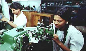Women at a garment manufacturing unit